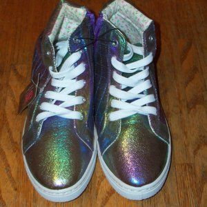 NWT Girls Rainbow High Top Lace-up Sneakers